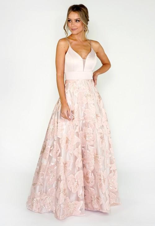My Michelle Blush Floral Ballgown