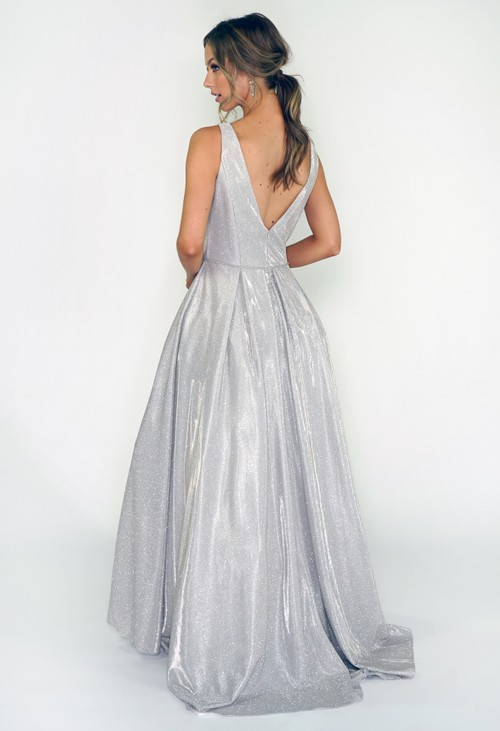 Betsy and Adam Silver Shimmer Ballgown