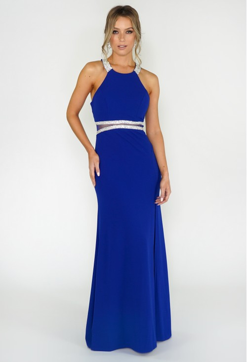 My Michelle ROYAL BLUE DRESS WITH DIAMONTE DETAIL