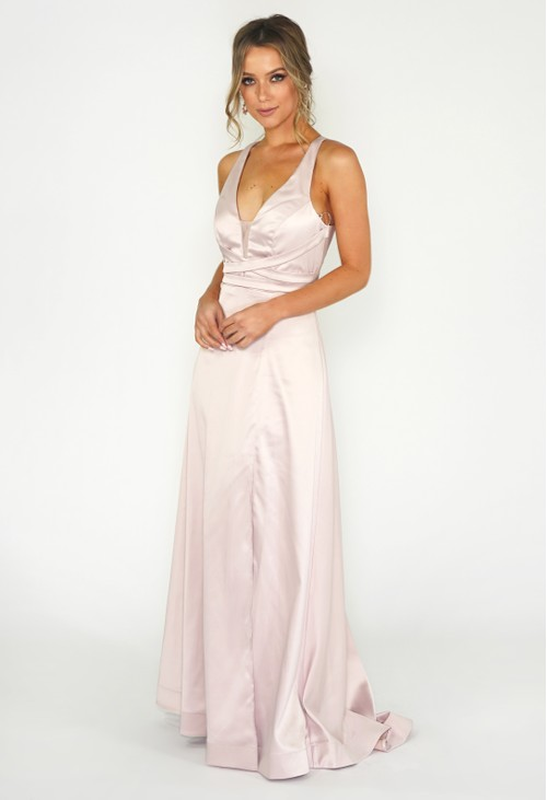 My Michelle Blush Satin Ballgown