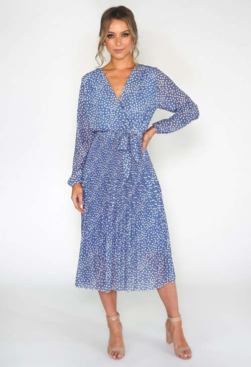 Pamela Scott Polka Dot Pleated Dress