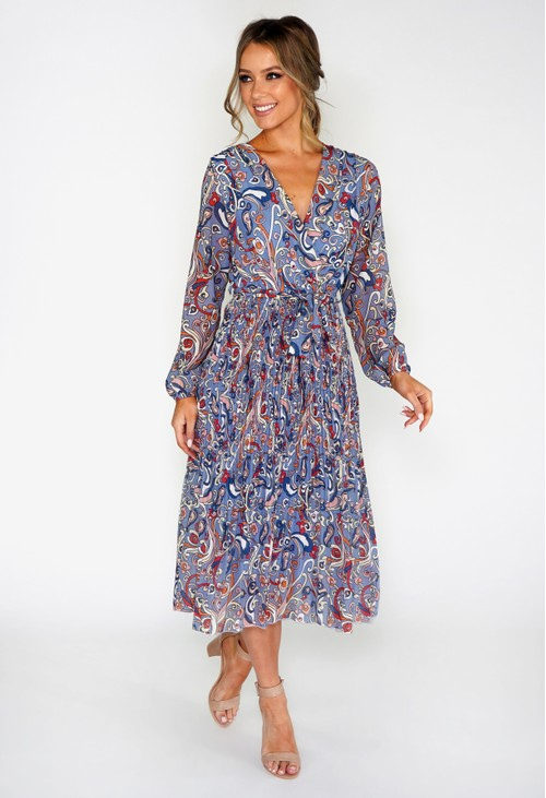Pamela Scott Paisley Pleated Dress
