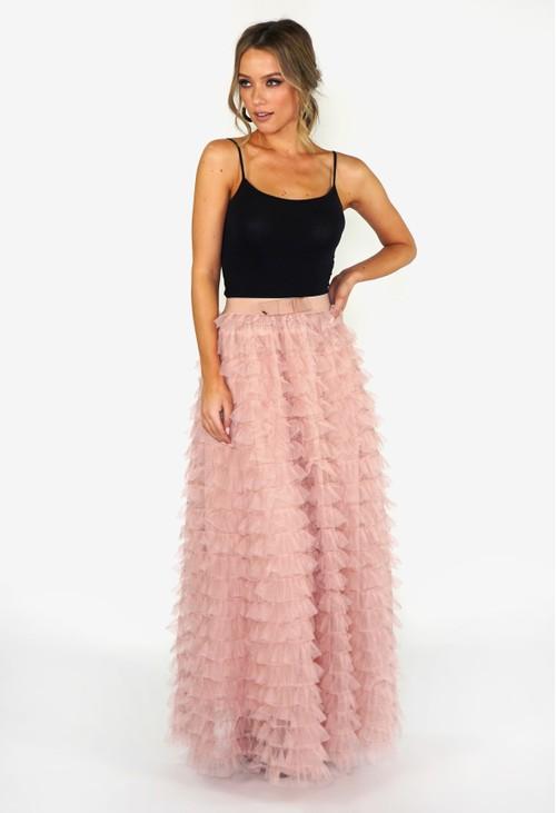 Pamela Scott Dusky Pink Frill Skirt