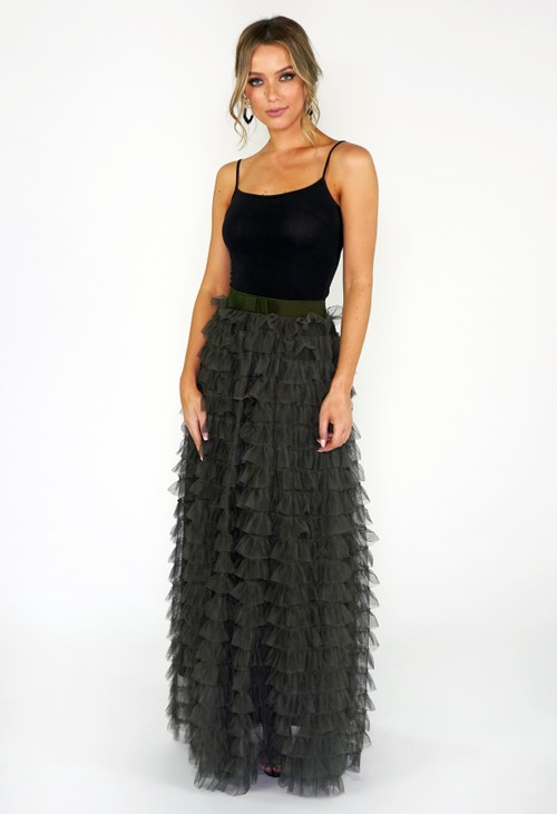 Pamela Scott Green Frill Skirt