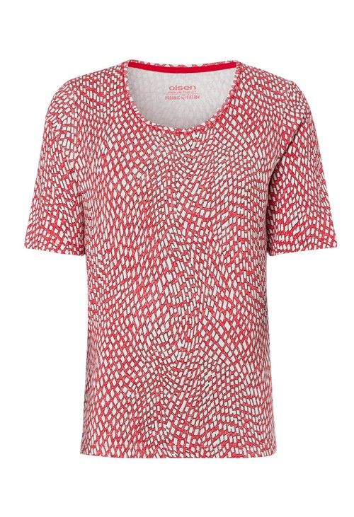 Olsen Spicy Red & White Short Sleeve Top