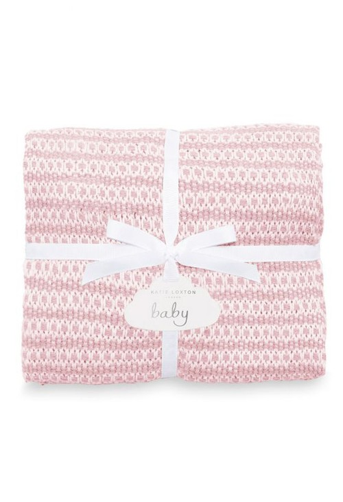 Katie Loxton COTTON KNITTED BABY BLANKET | PINK