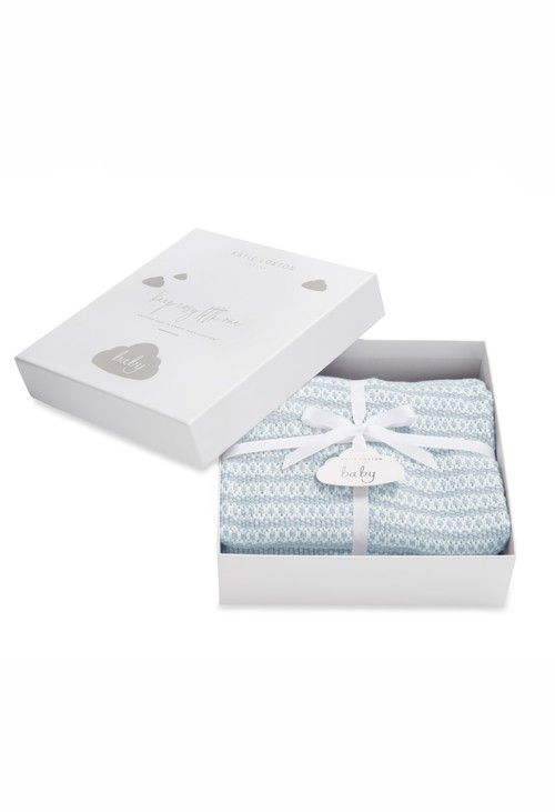 Katie Loxton COTTON KNITTED BABY BLANKET | BLUE