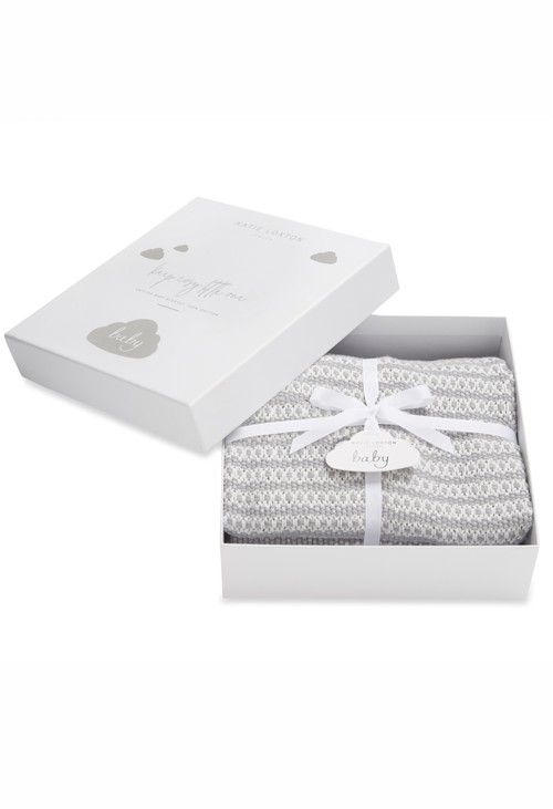 Katie Loxton COTTON KNITTED BABY BLANKET |GREY