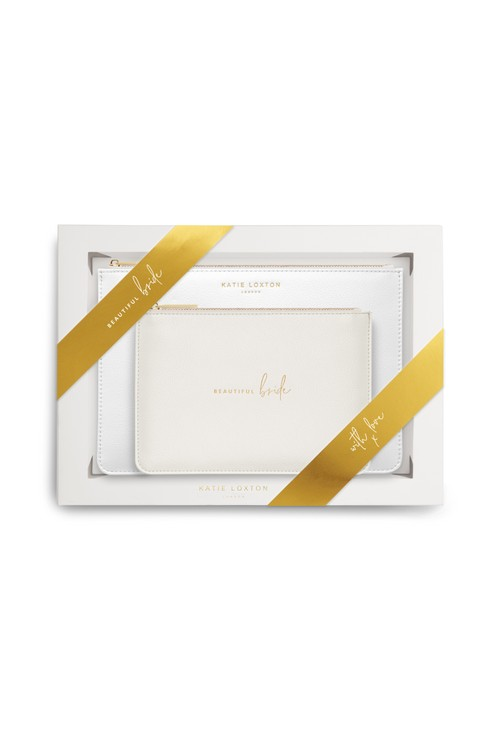Katie Loxton BRIDAL PERFECT POUCH GIFT SET | BEAUTIFUL BRIDE | METALLIC WHITE