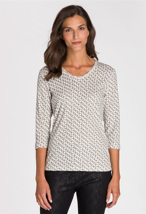 Olsen V NECK CHAIN PRINT TOP OFF WHITE