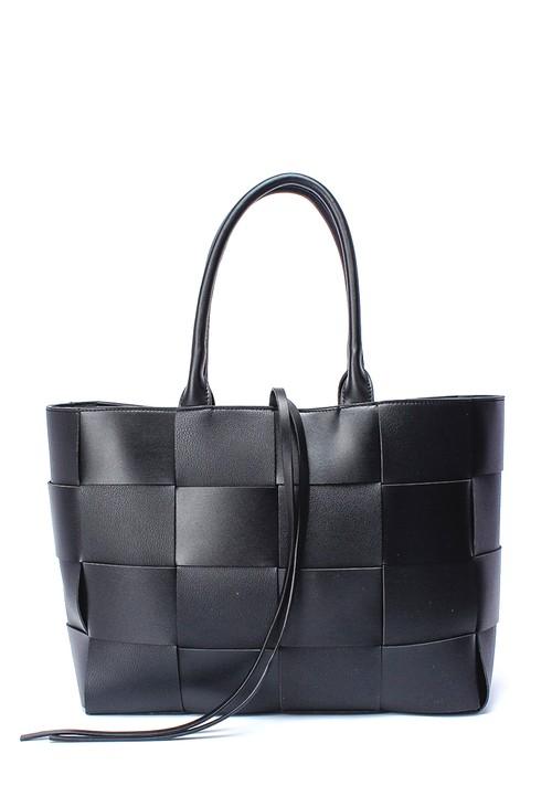 Bestini Black Woven Tote Bag