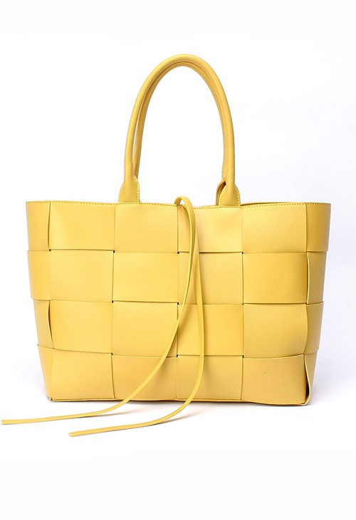 Bestini Yellow Woven Tote Bag