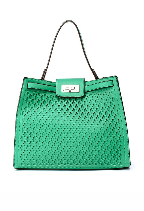 Bestini Laser Cut Detail Tote - Green