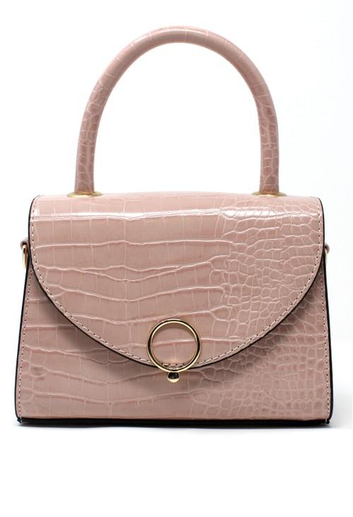 Bestini Pink Croc Mini Handbag
