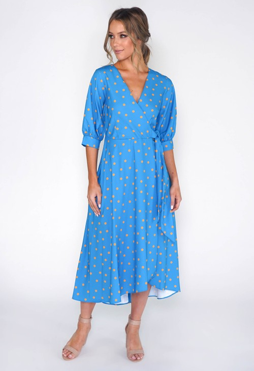 Closet BLUE PUFF SLEEVE WRAP DRESS