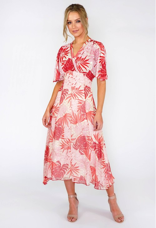 Sophie B Coral Palm Leaf Midi Dress