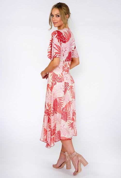 Sophie B Coral Palm Leaf Midi Dress
