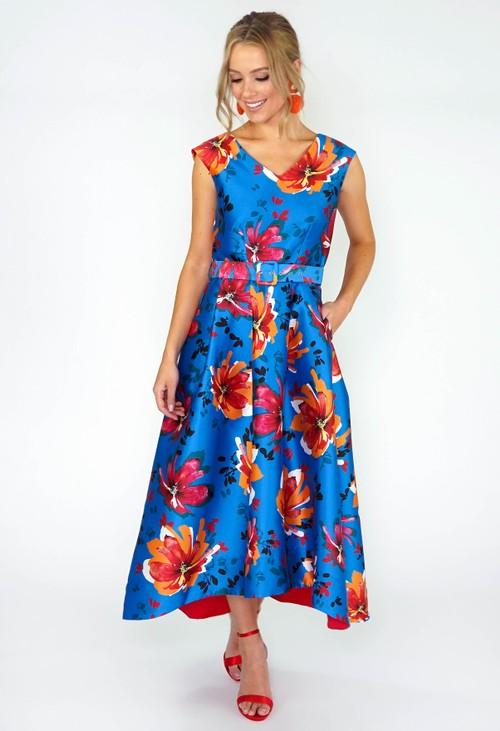 Closet GOLD BLUE HI-LOW PLEATED DRESS