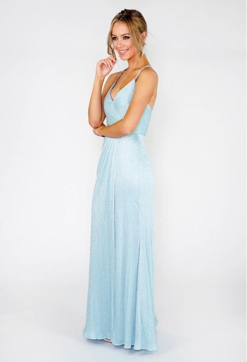 R and M Richard Spearmint Glitter Drape Dress