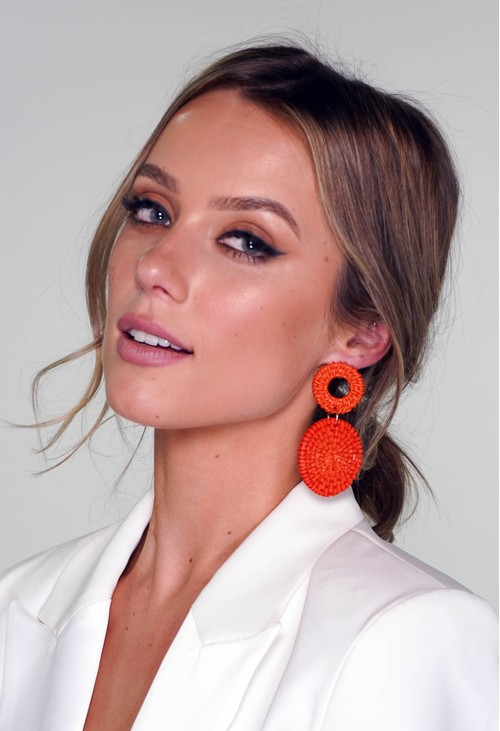 Pamela Scott Red Orange Earrings