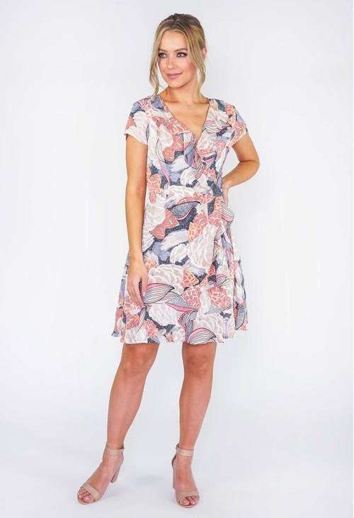 Pamela Scott Floral Ruffle Dress