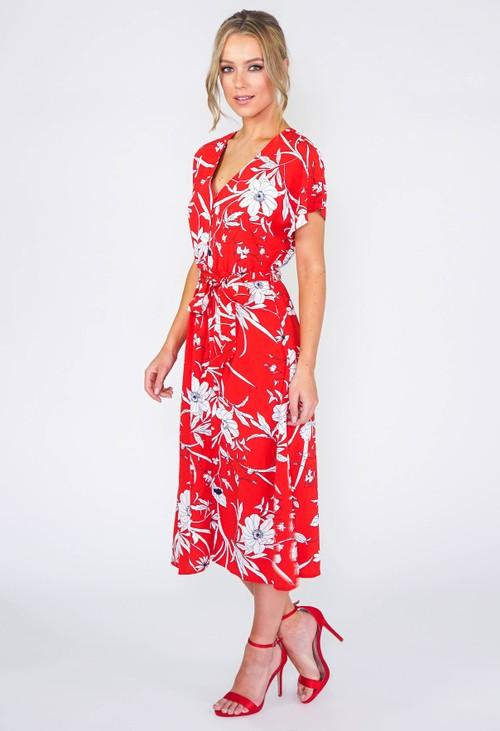 Stella Morgan Red Floral Dress