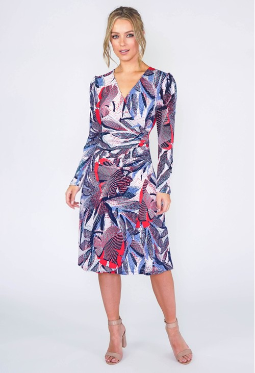 Zapara Tropical Leaf Faux Wrap Dress