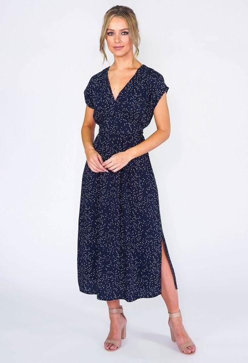 Zapara Abstract Polka Dot Midi Dress