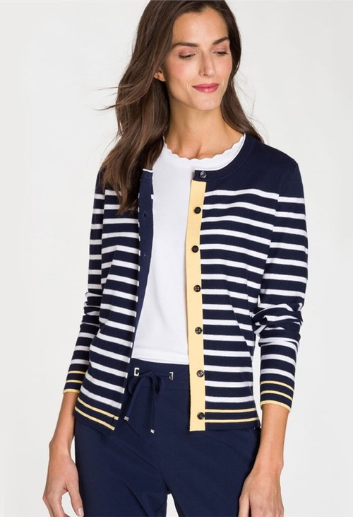 Olsen BUTTON STRIPED CARDIGAN NAVY