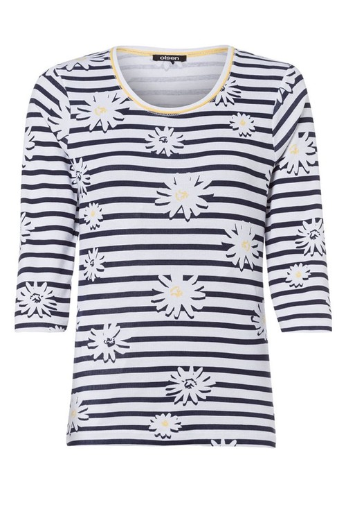 Olsen STRIPES AND DAISY PRINT TOP