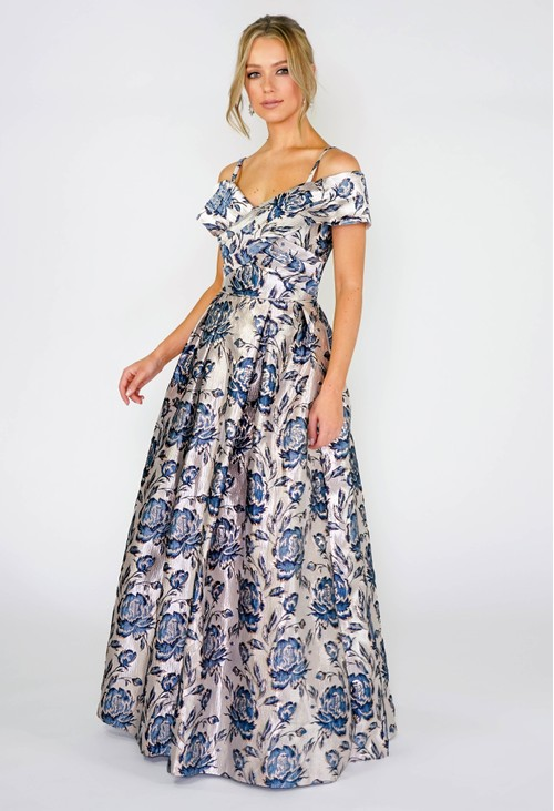 R and M Richard Floral Brocade Gown