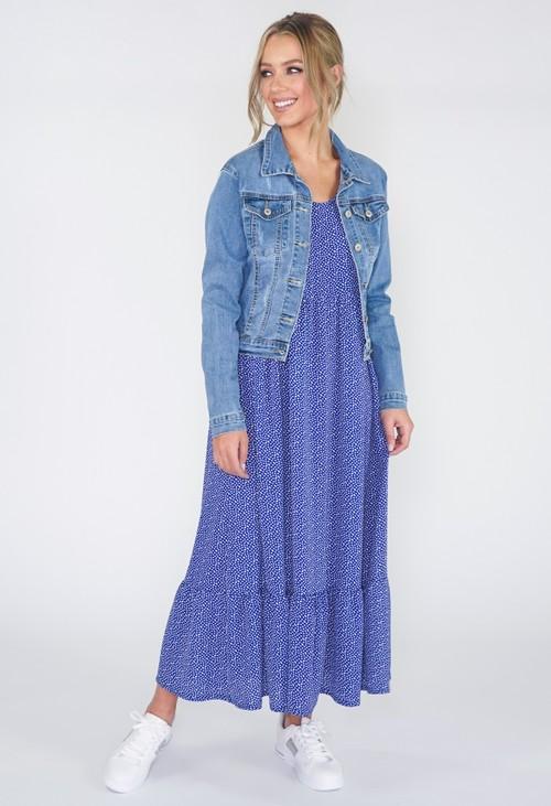 Zapara Royal Blue Polka Dot Midi Dress