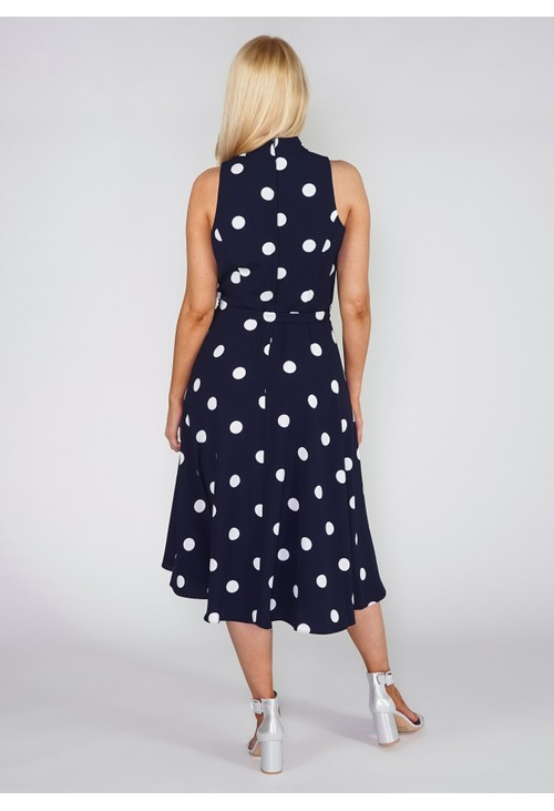 Pamela Scott Navy Polka Dot Dress