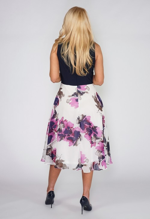 Pamela Scott Floral Contrast Dress