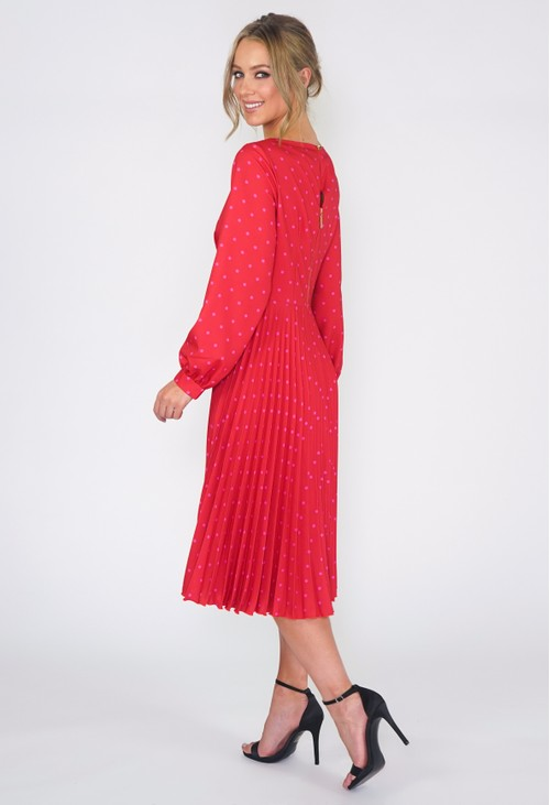 Closet GOLD RED PLEATED DRESS