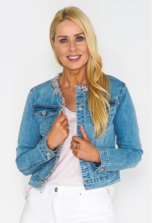 Pamela Scott Woven Trim Detail Denim Jacket