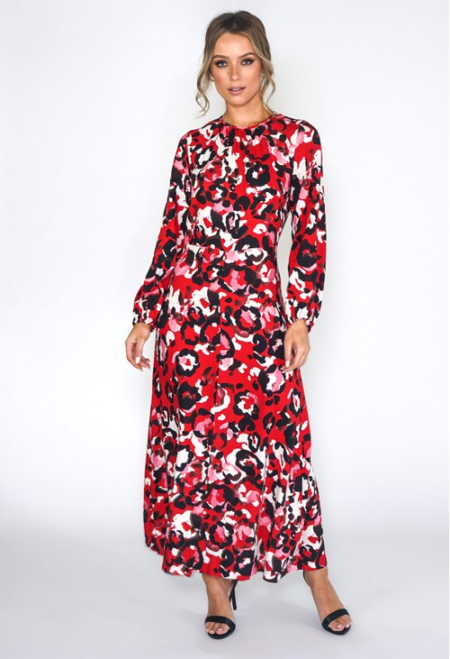 Closet RED A-LINE MIDI DRESS