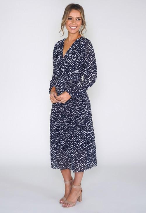 Pamela Scott Polka dot pleated dress