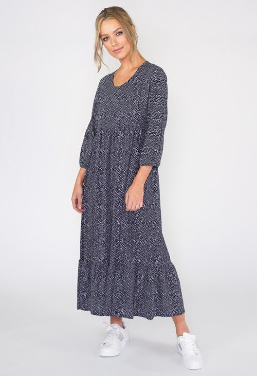 Zapara Navy Zapara Midi Polka-dot Dress