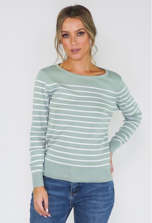 Twist Sage Stripe Pullover