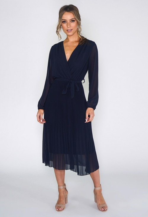 Pamela Scott Navy Pleated Dress
