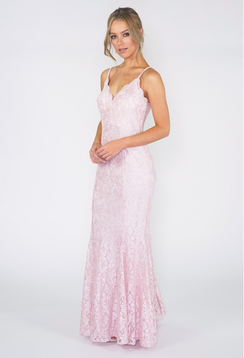 R and M Richard Pink Lace Evening Gown