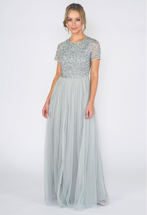 Maya SAGE ROUND NECK SEQUIN AND TULLE DRESS