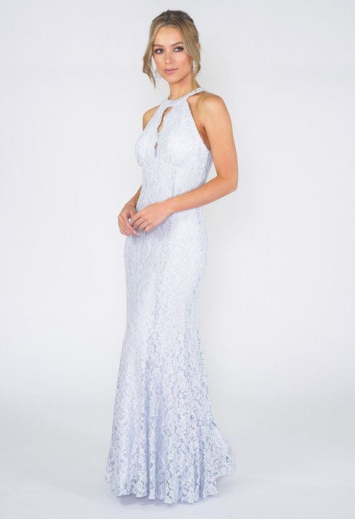 R and M Richard Ice Blue Evening Dress