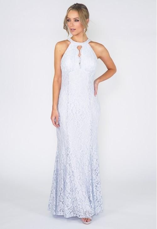 R and M Richard Ice Blue Evening Dress