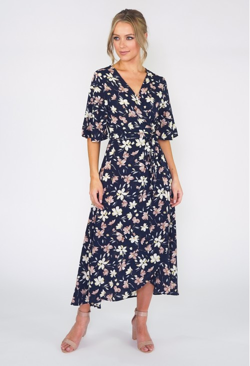 Pamela Scott Navy Floral Wrap Dress
