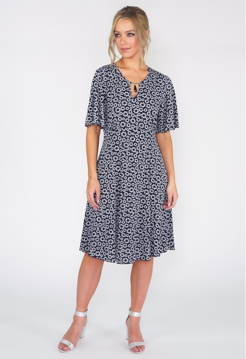Zapara Navy Ditsy Floral Dress