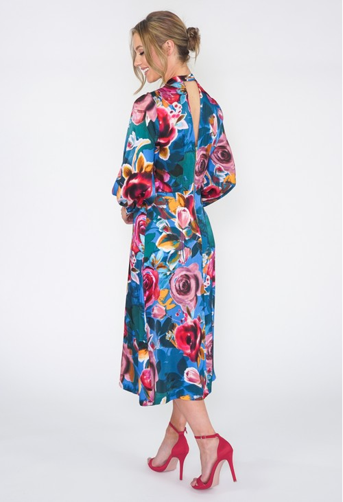 Closet BLUE MIX PRINT A-LINE DRESS
