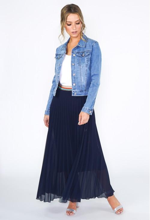 Pamela Scott Navy Pleated Skirt