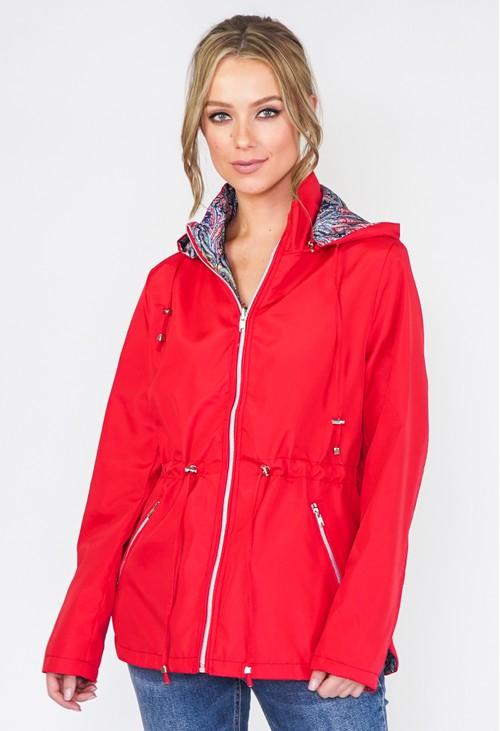 Pamela Scott Reversible Red Paisley Raincoat